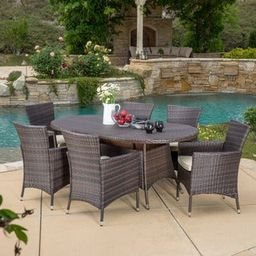 Dana Outdoor 7-piece Wicker Dining Set with Cushions by Christopher Knight Home | Overstock
