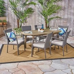 Stamford Outdoor 7-Piece Acacia Wood Dining Set with Wicker Chairs by Christopher Knight Home | Overstock