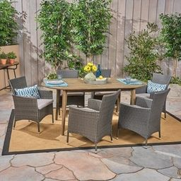 Stamford Outdoor 7-Piece Acacia Wood Dining Set with Wicker Chairs by Christopher Knight Home - t... | Overstock