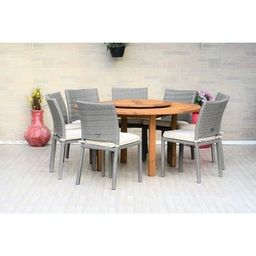 Gonilla 9-piece Lazy Susan Wood Dining Set with Wicker Chairs by Havenside Home | Overstock
