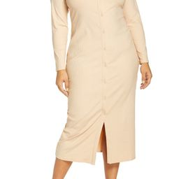 Button-Up Long Sleeve Knit Midi Dress | Nordstrom