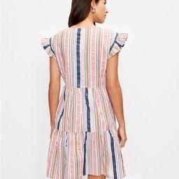 Striped Henley Ruffle Sleeve Dress | LOFT | LOFT