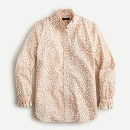 Classic-fit ruffleneck shirt in leopard   J.Crew US