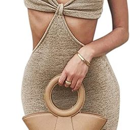 Womens Sexy V-Neck Maxi Knotted Dress, Cutouts Sleeveless Long Dress Summer Outfits   Amazon (US)
