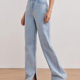 High Waist Split Side Straight Jeans | SHEIN