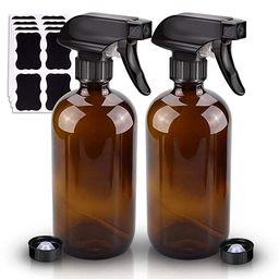 2 Pack Glass Spray Bottle, Wedama Amber 16oz Glass Spray Bottle Set & Accessories for Aromatherap... | Amazon (US)