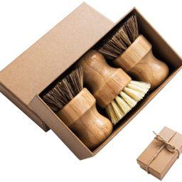Palm Pot Brush- Bamboo Round 3 Packs Mini Dish Brush Natural Scrub Brush Durable Scrubber Cleanin... | Amazon (US)