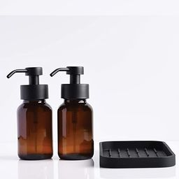 Foaming Hand Soap and Non-Foaming Dish Soap Dispensers - Set of 2 Bottles and 1 Silicone Tray Sin... | Amazon (US)