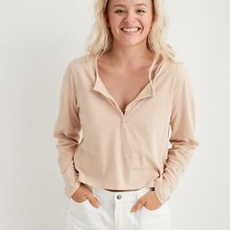 Aerie Long Sleeve Cropped Henley T-Shirt   American Eagle Outfitters (US & CA)