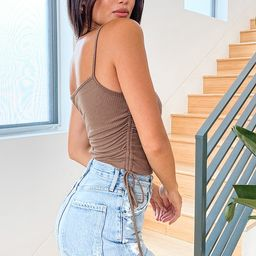 Ruching Around Taupe Ribbed Ruched Tank Top   Lulus (US)