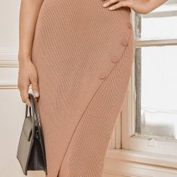 Iris Tan Ribbed Knit Faux-Wrap Midi Skirt   Lulus (US)