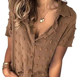 AlvaQ Women's Chiffon Blouses Long Sleeve Button Down Pom Pom Shirts Tops | Amazon (US)