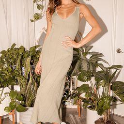 Fresh Beginnings Olive Green Ribbed Knit Midi Dress | Lulus (US)
