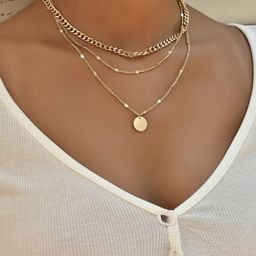 Disc Charm Layered Necklace | SHEIN