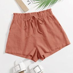 SHEIN Paperbag Waist Slant Pocket Shorts | SHEIN