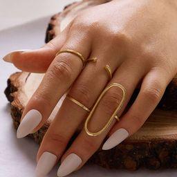 4pcs Simple Metallic Ring | SHEIN