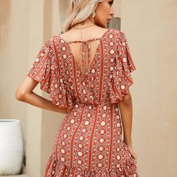 Tie Back Floral And Striped Print Dress | SHEIN