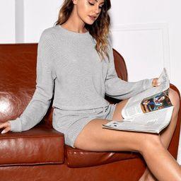 Waffle Knit Drop Shoulder Tee & Shorts Lounge Set | SHEIN