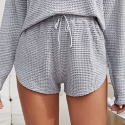 Tie Front Waffle Knit Lounge Shorts | SHEIN
