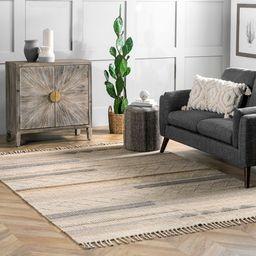 Beige Modern Striped Wool Area Rug | Rugs USA