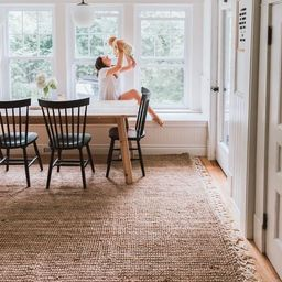 Natural Hand Woven Jute with Wool Fringe Area Rug | Rugs USA