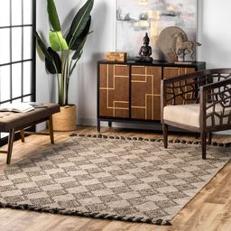 Beige High-Low Harlequin with Tassels Area Rug | Rugs USA