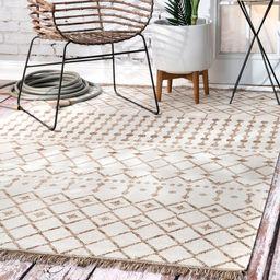 Beige Indoor/Outdoor Trellis With Tassels Area Rug | Rugs USA