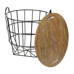 Industrial Wire and Wood Basket Side Table | Kirkland's Home
