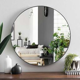 Round Black Metal Mirror, 30 in. | Kirkland's Home