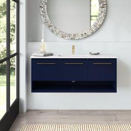"""Bryant 48"""" Wall-Mounted Single Bathroom Vanity Set   Wayfair North America"""