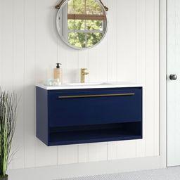 """Bryant 36"""" Wall-Mounted Single Bathroom Vanity Set   Wayfair North America"""