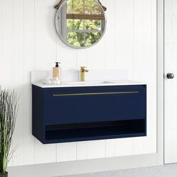 """Bryant 40"""" Wall-Mounted Single Bathroom Vanity Set   Wayfair North America"""