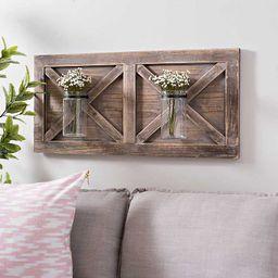 Barn Door Wall Plaque with Glass Vases | Kirkland's Home