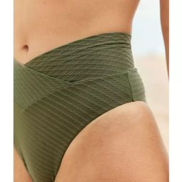 Aerie Jacquard Crossover High Cut Cheeky Bikini Bottom | American Eagle Outfitters (US & CA)