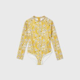 Girls' Long Sleeve Ditsy Floral Back-Zip One Piece Swimsuit - art class™ Gold | Target