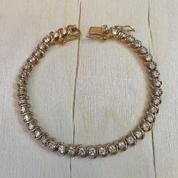 Tennis Bracelet, Gold over Silver. | Etsy (US)
