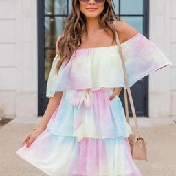 A Fading Rainbow Swiss Dot Tiered Multi Dress | The Pink Lily Boutique