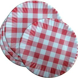 """What Is It?"""" Reusable Red & White Gingham Checkered Picnic/Dinner Plate, 7.5 Inch Melamine, Set o...   Amazon (US)"""