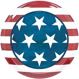 """Amscan Patriotic Round Plastic Platter, 13 1/2"""", Multi Color   Amazon (US)"""