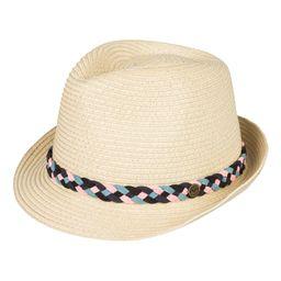 Roxy Women's Fedoras Natural - Pink & Black Braided Sentimiento Straw Panama Hat | Zulily