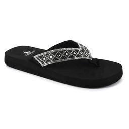 Corkys Footwear Women's Flip-Flops BLACK - Black Rhinestone Largo Flip-Flop - Women | Zulily