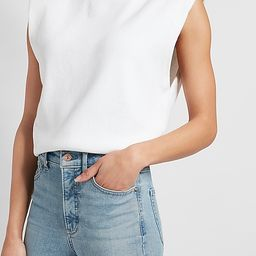 Ribbed Padded Shoulder Sweater | Express