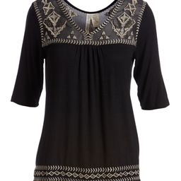Simply Irresistible Women's Blouses Black - Black Geometric Embroidered V-Neck Top - Plus | Zulily