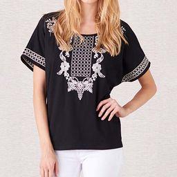 PAPARAZZI Women's Tee Shirts BLACK - Black Venetian Embroidered Scoop Neck Top - Women | Zulily