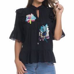 Peace and Love Women's Blouses BLACK - Black Floral-Embroidered Ruffle Bell-Sleeve Top - Women | Zulily