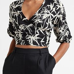 Tropical Print Linen-Blend Cropped Wrap Front Top | Express