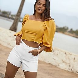 Cropped Tie Back Puff Sleeve Top | Express