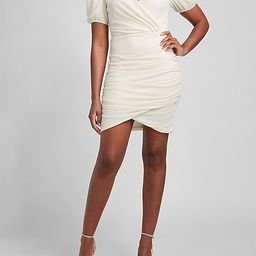 Ruched Wrap Front Puff Sleeve Dress   Express