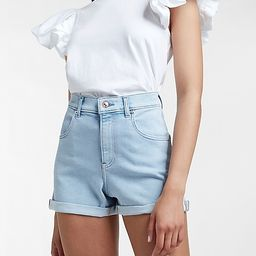 Super High Waisted Double Rolled Mom Jean Shorts   Express