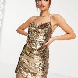 ASOS DESIGN cowl neck all over sequin mini cami dress in gold   ASOS (Global)